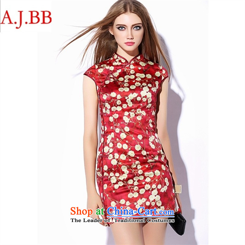 Orange Tysan _ China wind autumn 2015 new national women's need for cash collar package red gold stamp   cuff cheongsam red燣