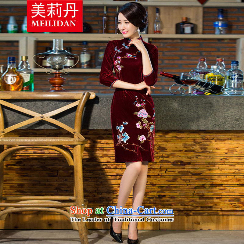 Emilie Dan cheongsam dress 2015 autumn and winter new moms long sleeves in improvement of nostalgia for the wedding Q856 wine red XL