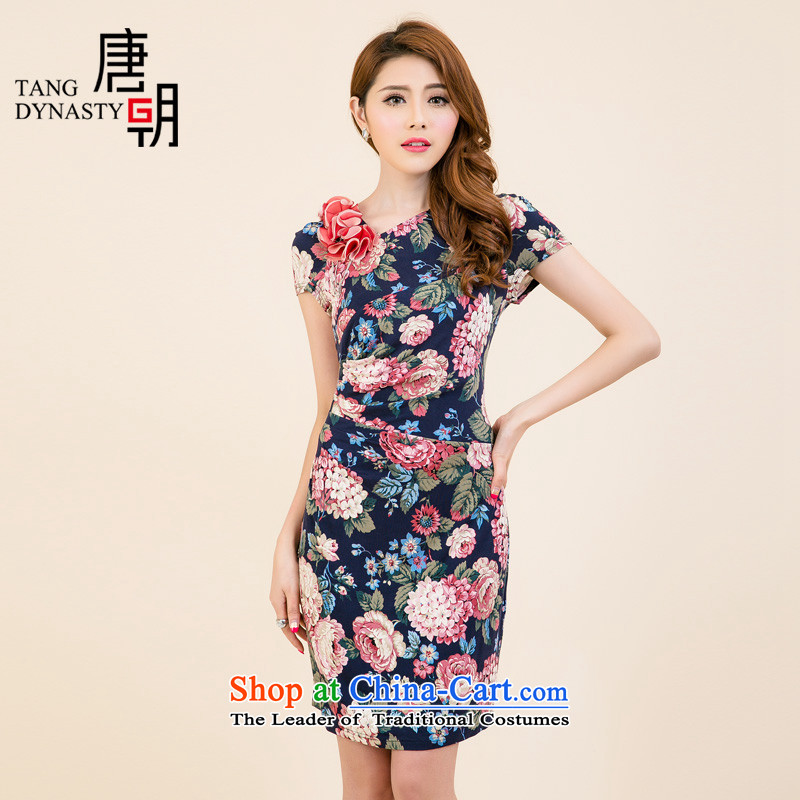 The Tang dynasty Summer 2015 new products in women's original ladies dress female TXF40688A PO BLUE ROSE XL