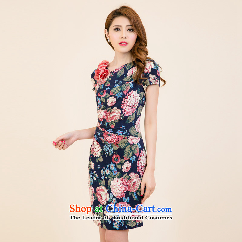 The Tang dynasty聽Summer 2015 new products in women's original ladies dress female TXF40688A PO BLUE ROSE聽XL, Tang Dynasty , , , shopping on the Internet