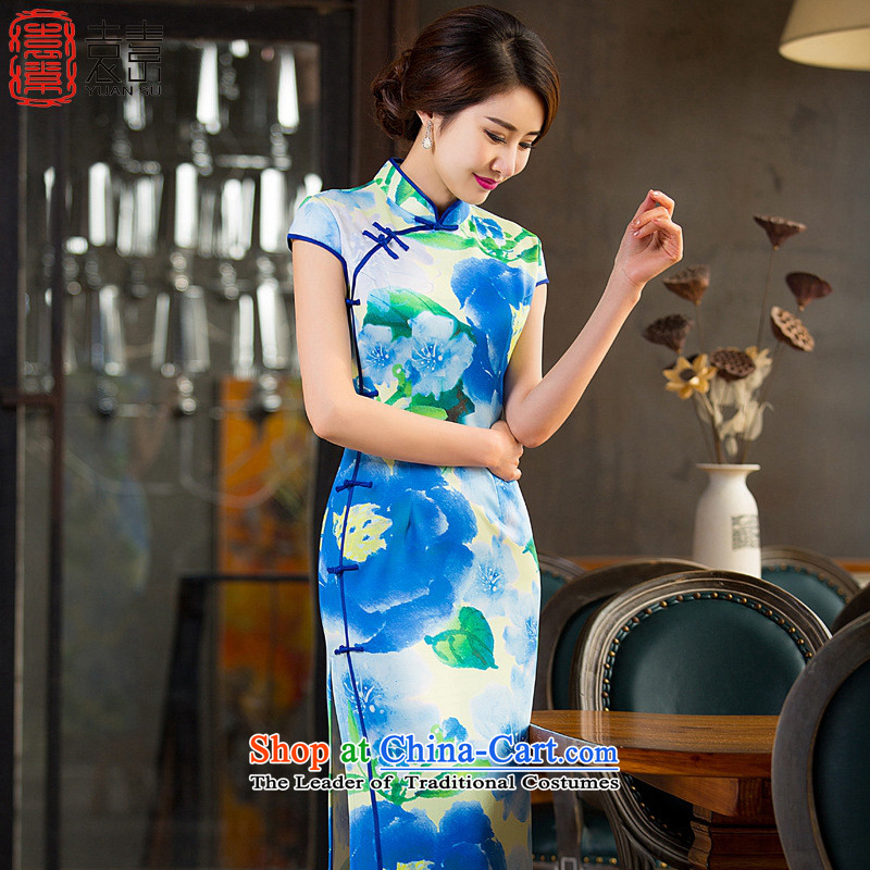 Yuan of baths ylang2015 new cheongsam dress retro look long qipao Sau San dress improved qipao summer in longQD237 XL