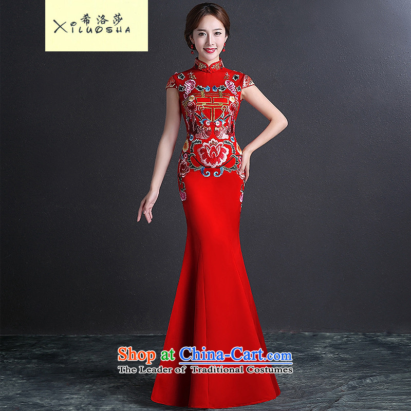 Hillo _XILUOSHA_ Elizabeth bride、Qipao Length of?2015 New cheongsam dress suit Chinese winter clothing bows crowsfoot Sau San cheongsam dress red?S