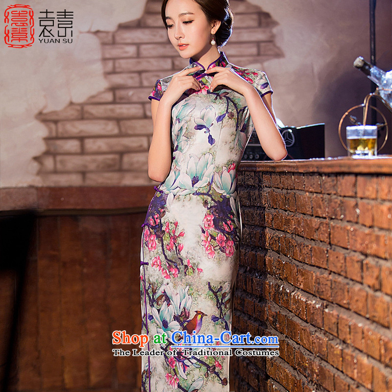 Mr Yuen Ching lateral transfer of 2015 New cheongsam dress in summer long improved cheongsam dress cheongsam dress QD220 temperament suit XL