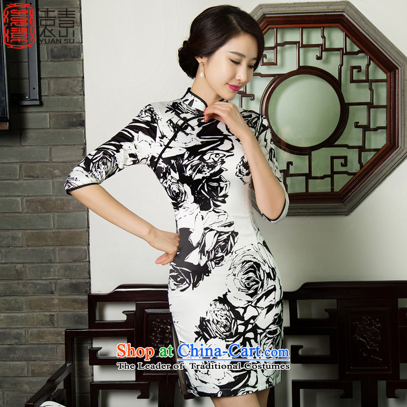 Mr Yuen modesty爊ew 2015 yen cheongsam dress summer lace retro arts cheongsam dress daily improved燾olor picture 11019 qipao燲L