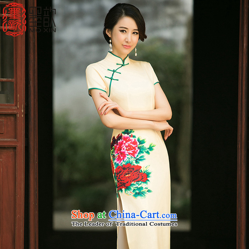 The pity of new ? summer daily improved?Qipao Length qipao Sau San modal stamp cheongsam dress of ethnic women�ZA014 M