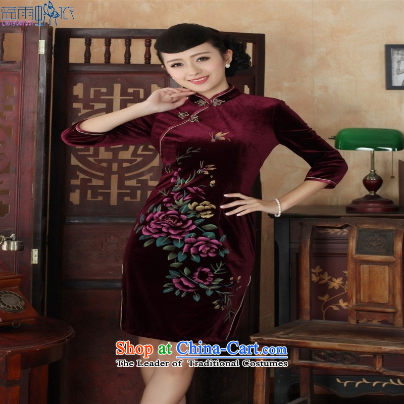 Tang dynasty new qipao hand-painted superior Stretch Wool qipao seven really cuff XXXL wine red