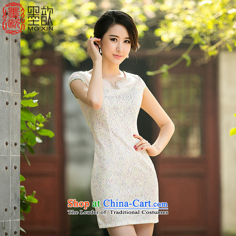 The white Lei?2015 Summer 歆 new daily improved cheongsam dress billowy flounces lace cheongsam dress suit?ZA 029?Light Yellow?2XL