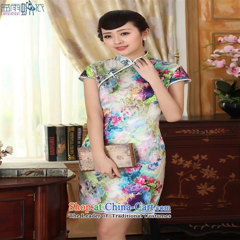 Retro classic Silk Satin Poster elastic Sau San double short qipao picture color聽L