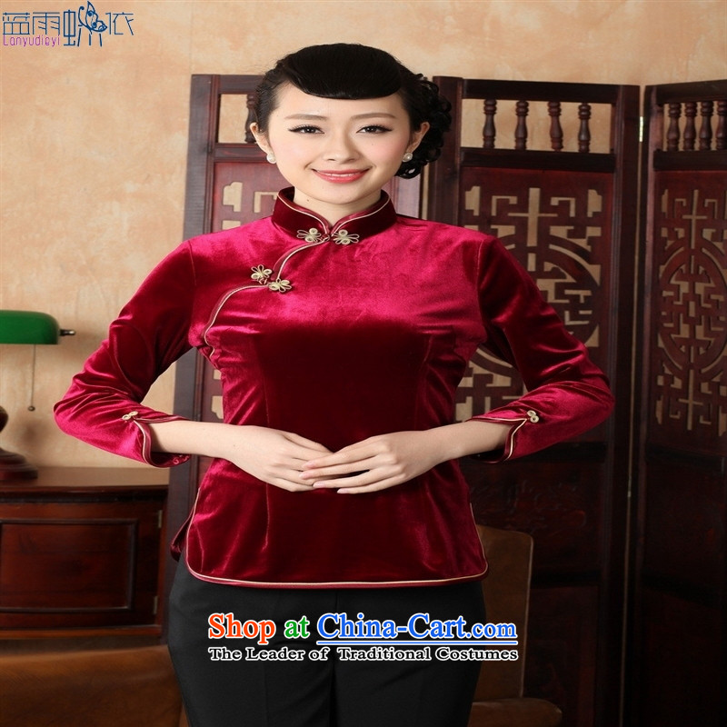 Ms. Tang Dynasty Chinese clothing ethnic women 9 cuff scouring pads qipao shirt 555 wine red M
