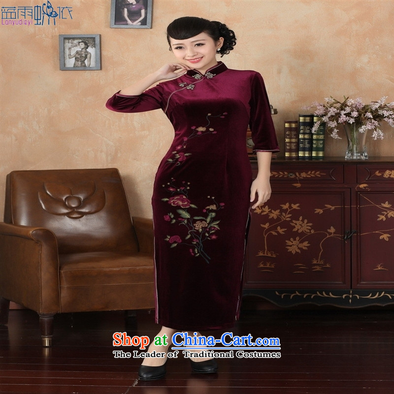 Tang dynasty qipao 3 new Superior Stretch Wool qipao seven gold cuff picture color聽XXXL
