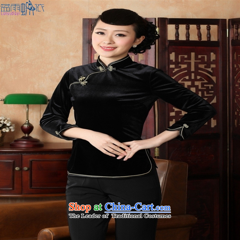 Ms. Tang Dynasty Chinese clothing ethnic women 9 cuff scouring pads qipao shirt 237 Black聽XL