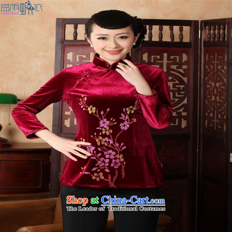 Ms. Tang Dynasty Chinese clothing ethnic women 9 cuff scouring pads qipao shirt 353 wine red XXL