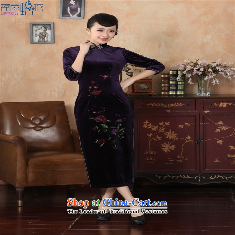 Tang dynasty qipao 3 - New Superior Stretch Wool qipao seven gold cuff picture color聽L