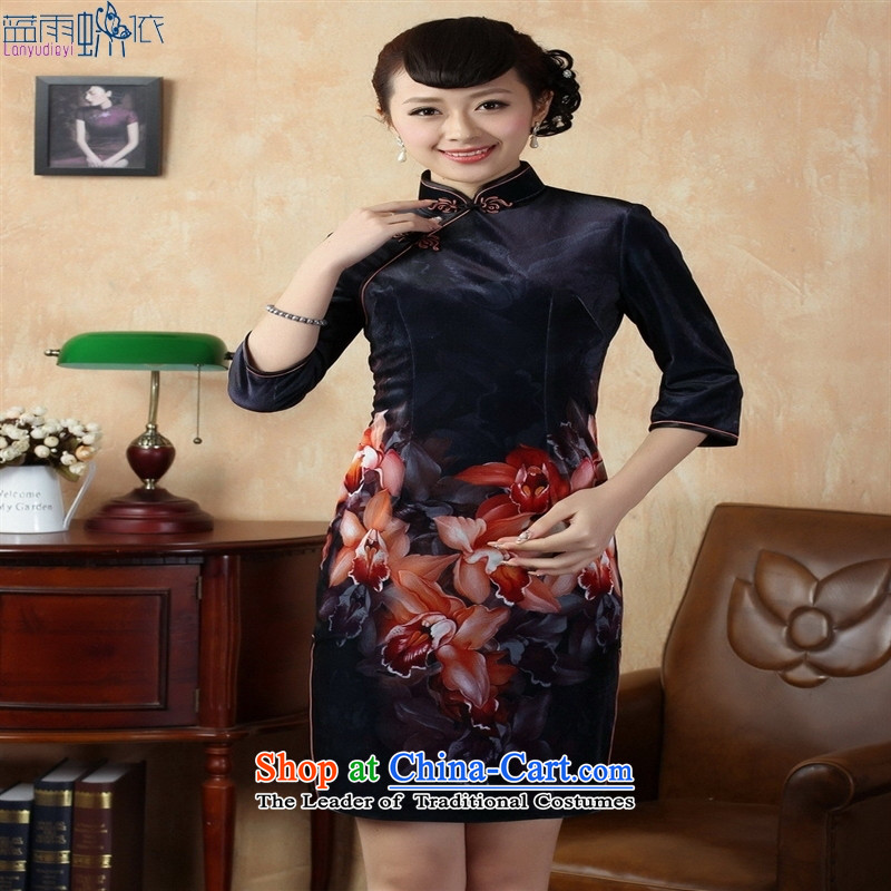 Tang Dynasty qipao Stretch Wool poster stylish Kim in classic short-sleeved qipao picture color聽blue rain butterfly according to S, shopping on the Internet has been pressed.