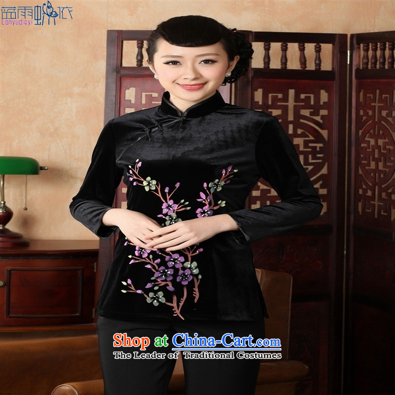Ms. Tang Dynasty Chinese clothing ethnic women 9 cuff scouring pads qipao shirt 920 Black M