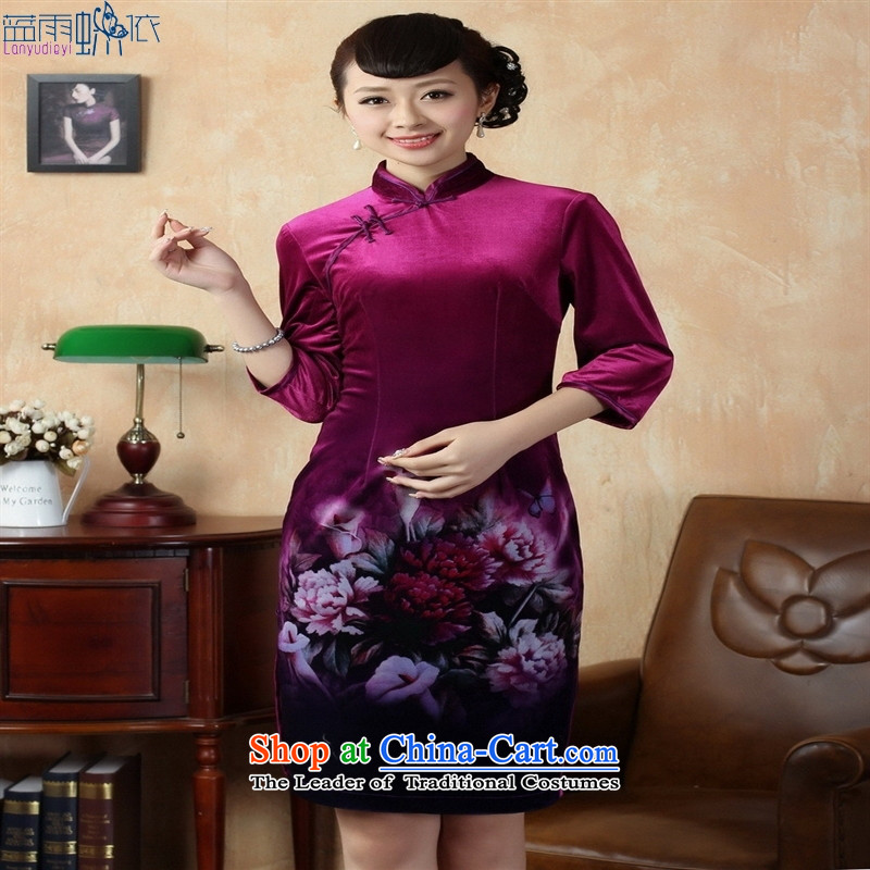 Tang Dynasty qipao Stretch Wool poster stylish Kim flowers in short-sleeved qipao picture color聽L