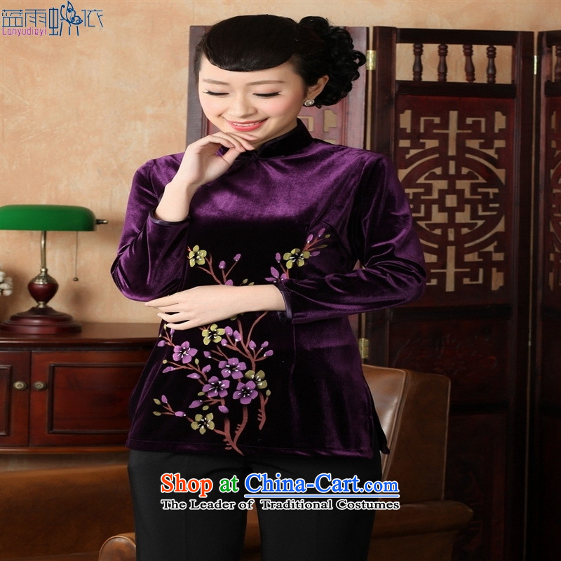 Ms. Tang Dynasty Chinese clothing ethnic women 9 cuff scouring pads qipao shirt XXXL Violet 308