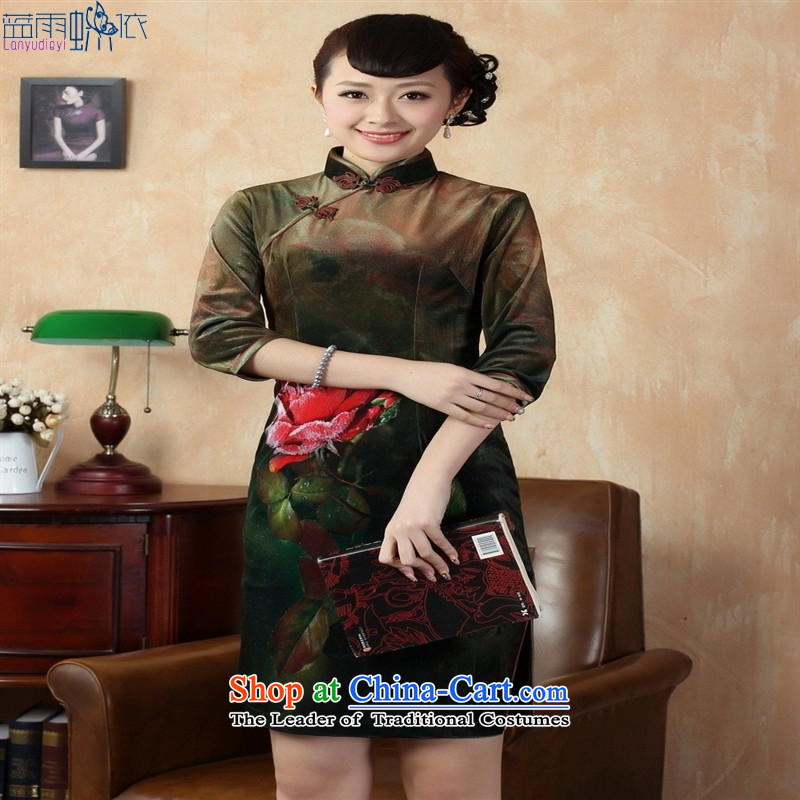 Tang Dynasty qipao 0 Stretch Wool poster stylish Kim in classic short-sleeved qipao army green S