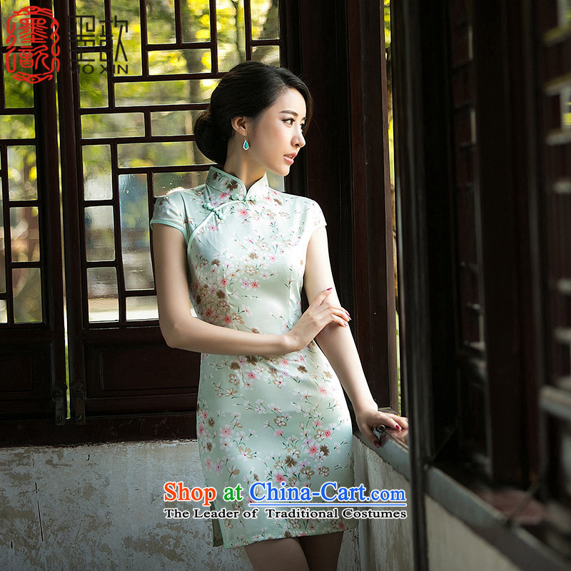 The Tsing聽2015 ink 姝� summer stylish thin Silk Cheongsam Sau San video skirt retro stamp improved Ms. cheongsam dress聽ZA048聽green 5119_ heavyweight silk double_ XL