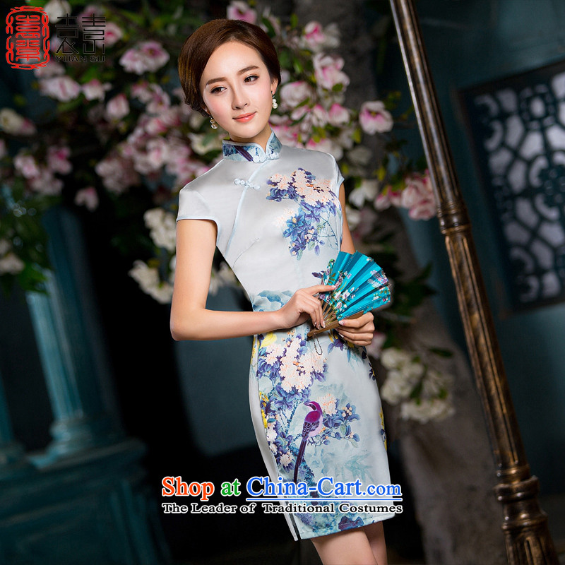Yuan of 2015 improved cheongsam dress contend new temperament summer retro Silk Cheongsam short-sleeved stamp cheongsam dress QD178 POWDER BLUE XL