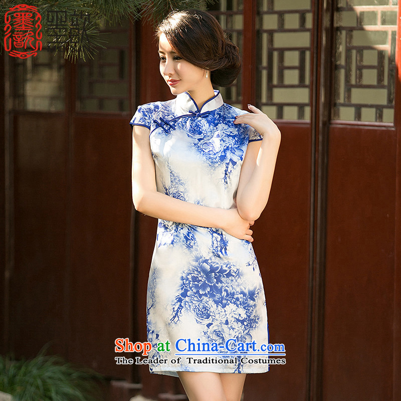 The new paragraph recalls that 歆 summer porcelain stamp cheongsam dress Short-Sleeve Mock-Neck improved Sau San video thin cheongsam dress?ZA 050?suit?XL