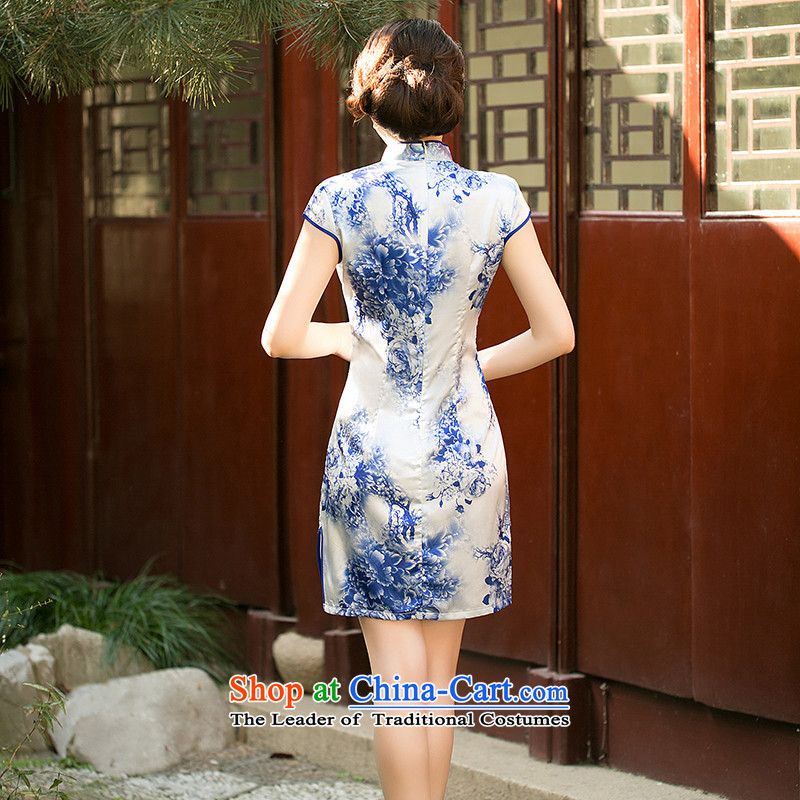 The new paragraph recalls that 歆 summer porcelain stamp cheongsam dress Short-Sleeve Mock-Neck improved Sau San video thin cheongsam dress suit XL, ink ZA 050 歆 MOXIN () , , , shopping on the Internet