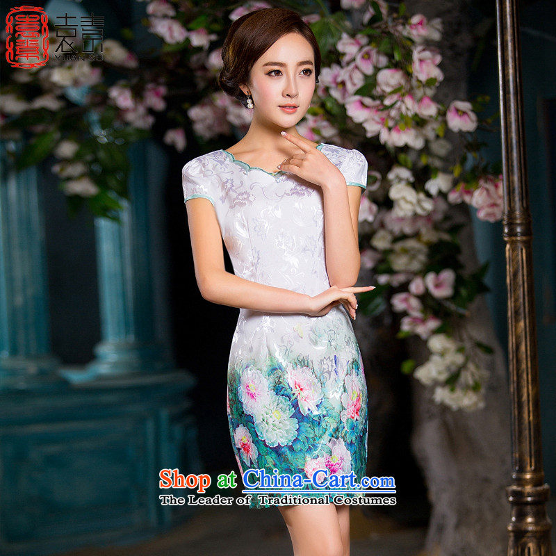 I should be grateful if the yuan of rain qipao 2015 new retro niba collar cheongsam dress summer temperament cheongsam dress ethnic cheongsam dress QD031 White XL