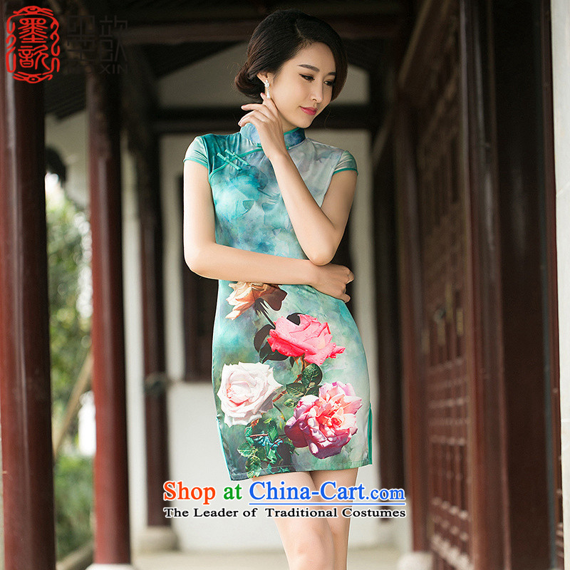 The 2015 Summer Scent $歆) improved daily cheongsam silk cheongsam dress short-sleeved stamp, Sau San dresses ZA 054 suit XL