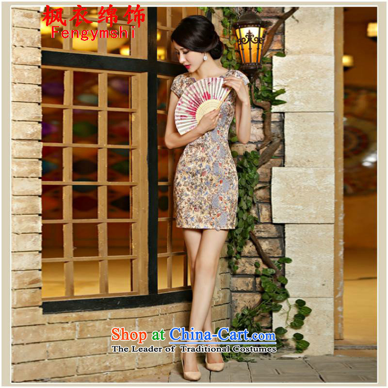 All metered parking spaces along the new 2015 Flower cheongsam dress lace daily Sau San video thin dresses short qipao 9018#NC321 suit. XL