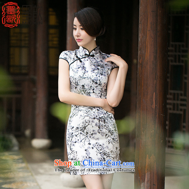 The new products from the incense 歆 summer of ink painting stamp cheongsam dress retro short-sleeved cheongsam dress qipao ZA 056 suits Ms. 2XL