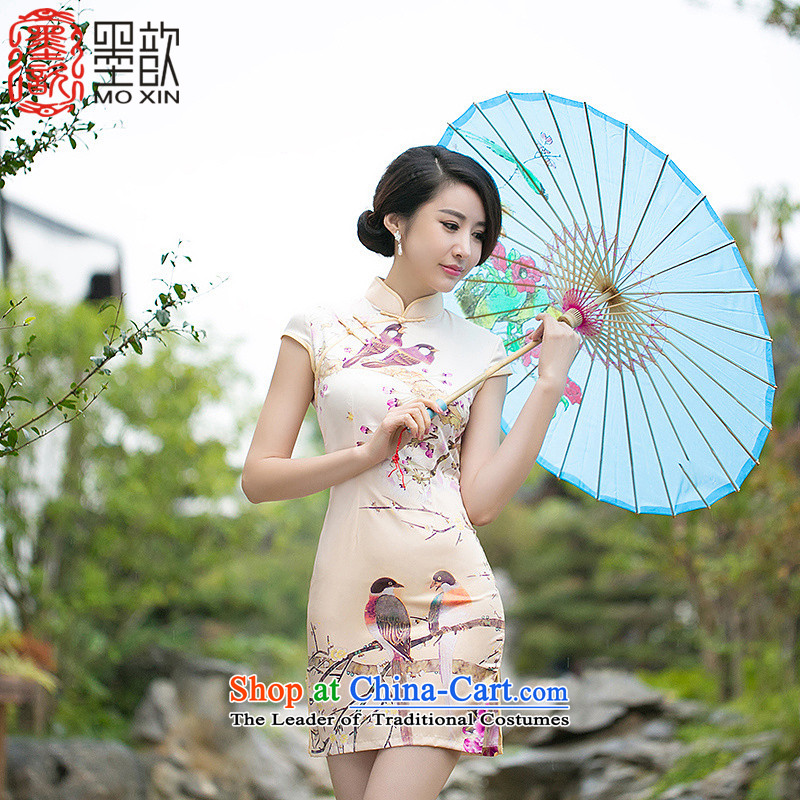 The ING Barings?2015 Summer Fun 歆, Retro ethnic cheongsam dress, stylish Sau San video thin cheongsam dress?ZA 058 L