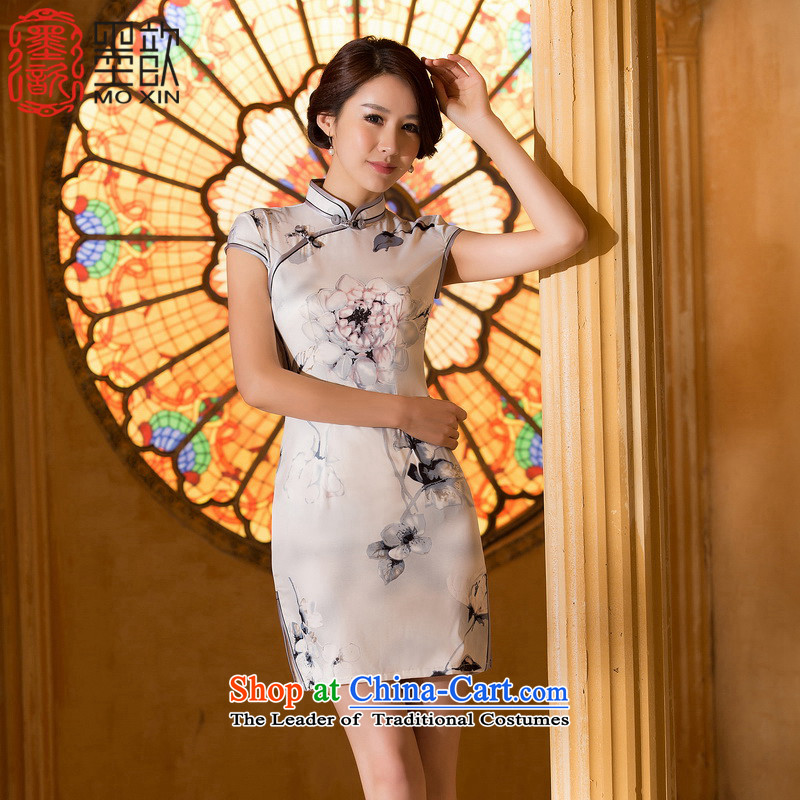 The new 2015 Sophie 歆 new summer daily improvements qipao cheongsam dress suit bank ink painting cheongsam dress ZA 060 2XL