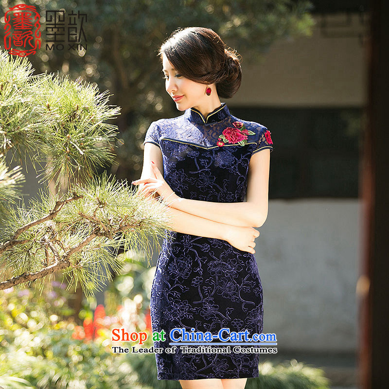 The United buds ? 2015 new lace stitching scouring pads improved qipao China wind national dress daily qipao cheongsam dress ZA070 DARK BLUE L
