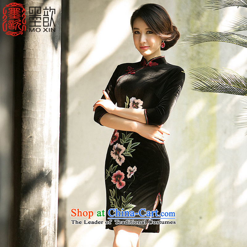 The print language rong new 歆 fall inside the daily improved Sau San short embroidery cheongsam cheongsam dress mother retro scouring pads fitted dresses QD146-8 black S