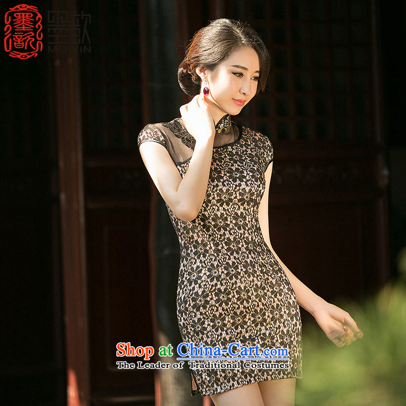 The new summer ? qipao summer daily improved cheongsam dress Ms. dress lace retro cheongsam dress ZA 0 87 black S