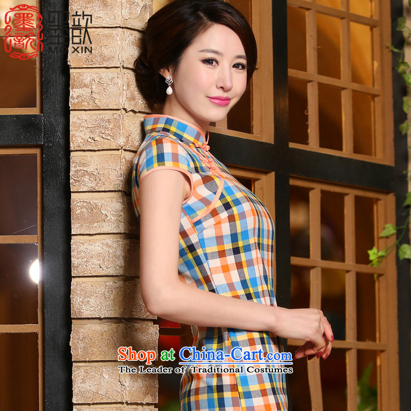 The fuser, summer ? short of literature and art nouveau style qipao package shoulder short-sleeved latticed daily qipao cheongsam dress stylish improved ZA 324 LATTICED XL