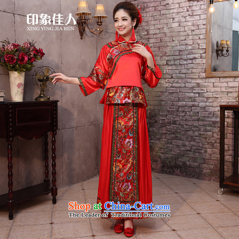 Impression bows services 2015 Summer new marriages red dress bows to Chinese style wedding dresses Sau Wo service long-sleeved longfeng use retro wedding gown pregnant women m