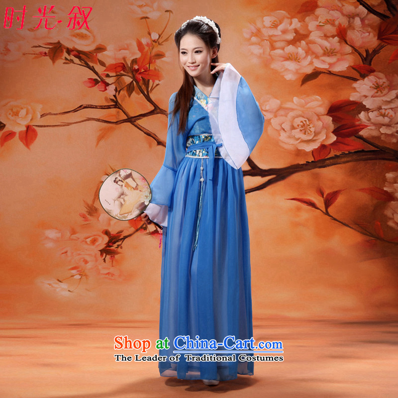 Syria Han-time female princess fairies skirt clothes ladies sexy ancient Han-summer 2015 new horn cuff cos Bruce Lee Gwi-Replace classical girl?S Light Blue