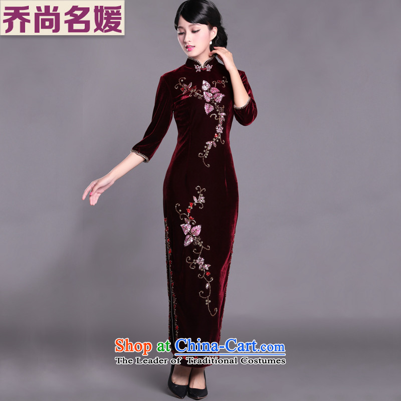 Joe was aristocratic cheongsam dress banquet Kim velvet gown long sleeves in wine red SRDZ001聽2XL