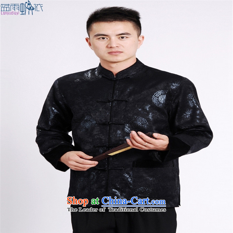 Tang Blouses Chinese men and Tang dynasty聽 M0037-b聽聽XXXL Dark Blue