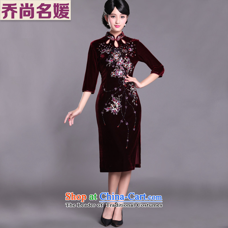 Joe was aristocratic cheongsam dress party Kim velvet gown in long-sleeved red wine SRDZ002?XL