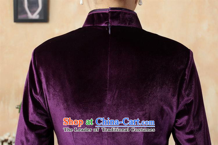 Tang dynasty qipao T0001-b New Pure color and the Stretch Wool qipao seven gold cuff violet聽S picture, prices, brand platters! The elections are supplied in the national character of distribution, so action, buy now enjoy more preferential! As soon as possible.