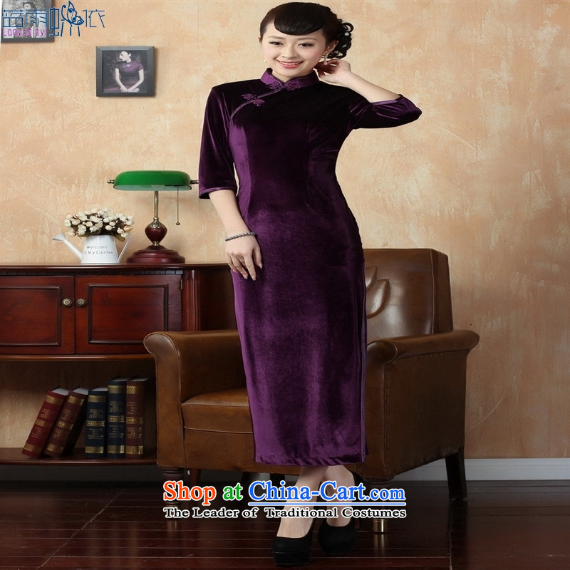 Tang dynasty qipao T0001-b New Pure color and the Stretch Wool qipao seven gold cuff violet S