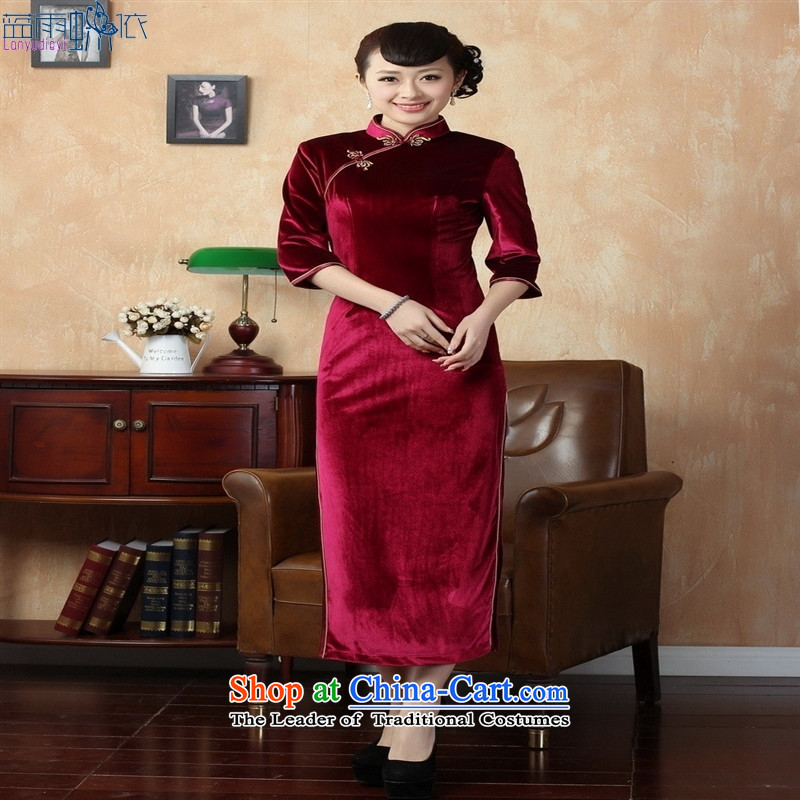 Tang dynasty qipao T0001-b New Pure color and the Stretch Wool qipao seven gold cuff Violet聽Blue rain butterfly according to S, shopping on the Internet has been pressed.