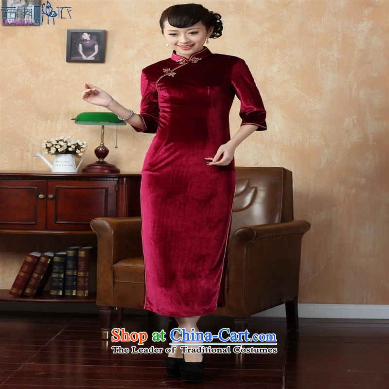 Tang dynasty qipao T0001 new pure color and the Stretch Wool qipao seven gold cuff wine red聽XL