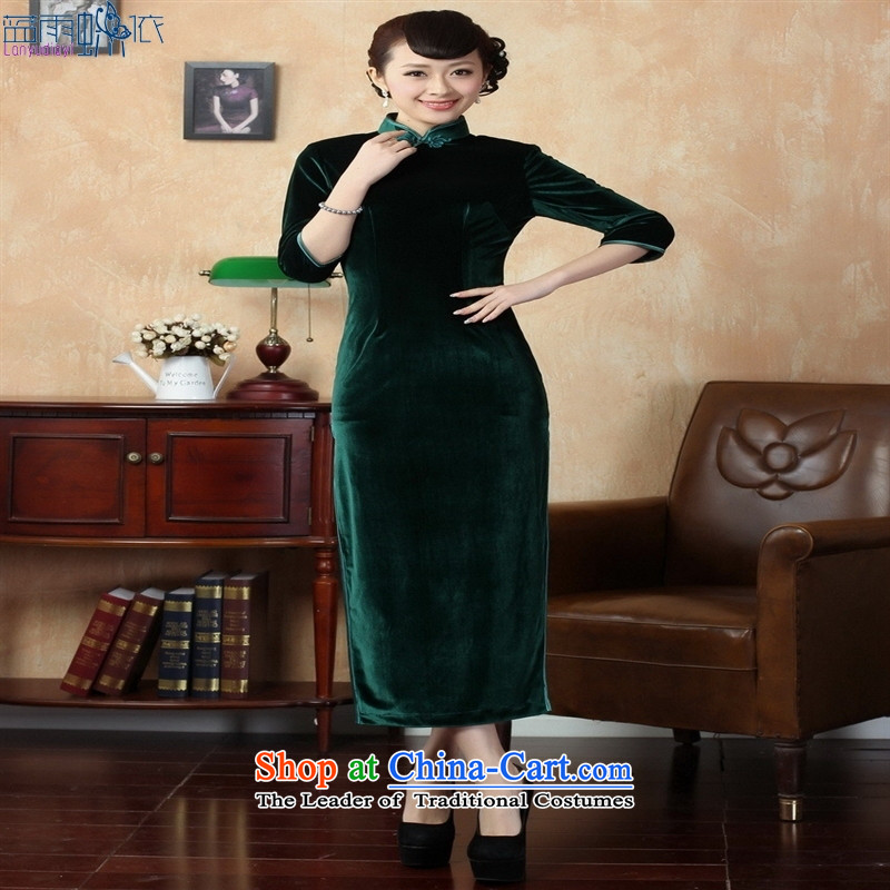 Tang dynasty qipao T0001-c New Pure color and the Stretch Wool qipao seven gold cuff green聽XL