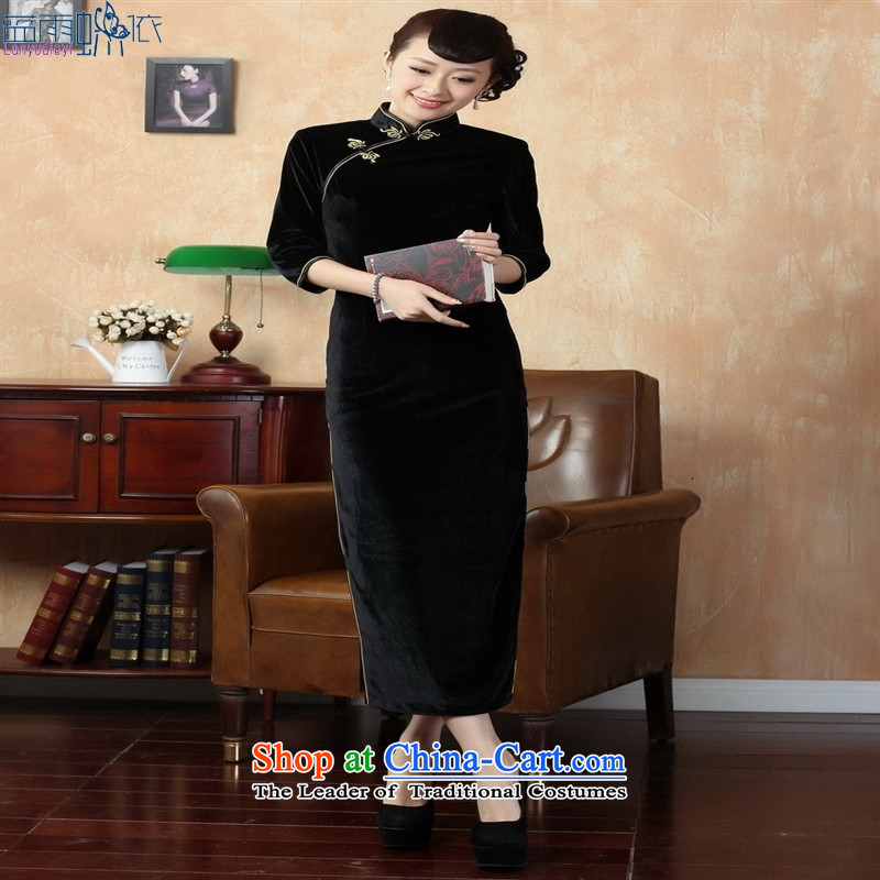 Tang dynasty qipao T0001-a New Pure color and the Stretch Wool qipao seven really sleeve black聽XXL