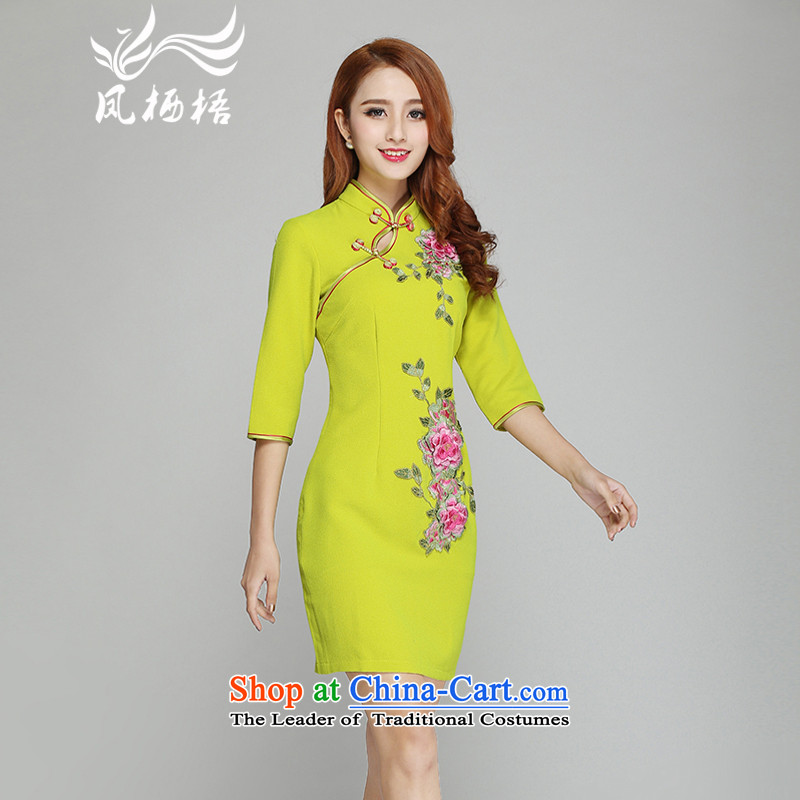 The new 7475 migratory Bong-embroidery qipao stylish Sau San chiffon cheongsam dress short sleeve cuffs DQ1502 qipao in yellow in the Cuff燬