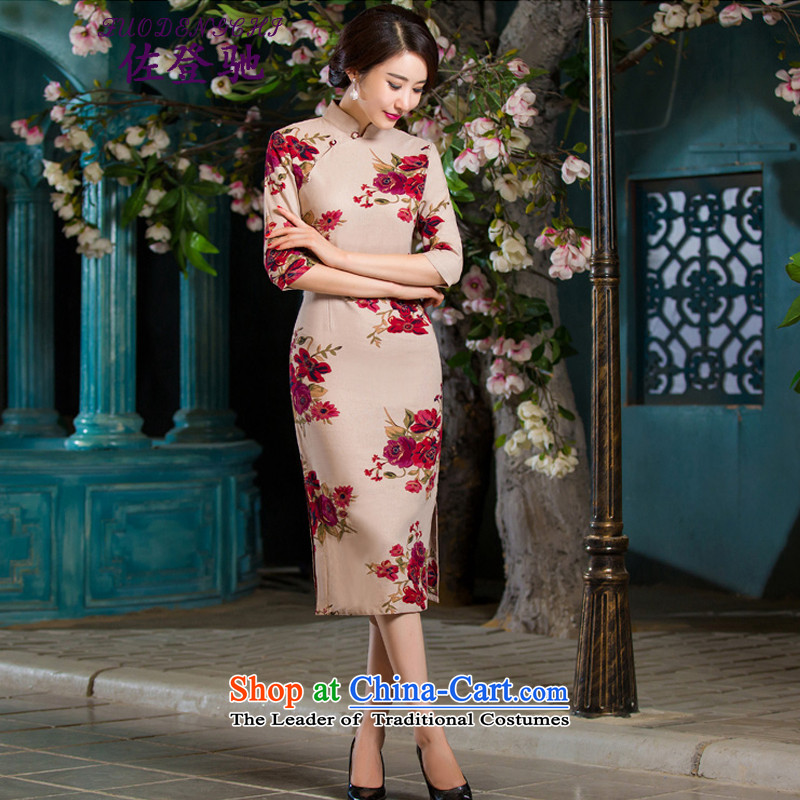 Sato Log?聽2015 Autumn replacing retro qipao graphics in thin cuff Sau San larger improved linen long skirt NC3219036 cheongsam with聽L