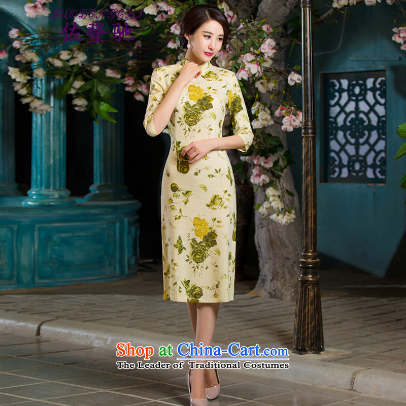 Sato Log?聽2015 Autumn replacing retro qipao graphics in thin cuff Sau San larger improved linen long skirt NC3219036 qipao Garden聽, L, Sato Log?ZUODENGCHI) , , , shopping on the Internet